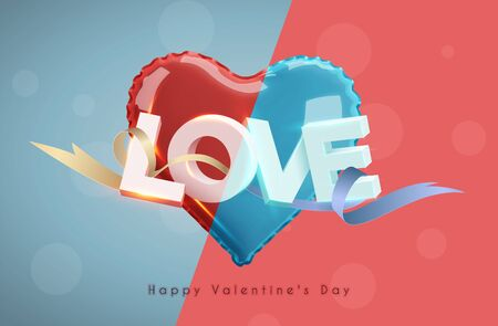 Modern 3d letters. The word love. Pink heart-shaped balloon. Vector holiday illustration on background. Happy Valentine's Day Foto de archivo - 134876584