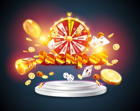 The word Jackpot, surrounded by a luminous frame and attributes of gambling, on the podium, on a explosion coins background. The new, best design of the luck banner, for gambling, casino Illustration