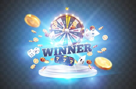 The word Winner, surrounded by a luminous frame and attributes of gambling, on the podium, on a explosion coins, on transparent background. The new, best design of the luck banner, for gambling, casino