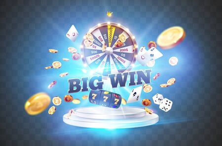 The word Big Win, surrounded by a luminous frame and attributes of gambling, on the podium, on a explosion coins, on transparent background. The new, best design of the luck banner, for casino Illustration