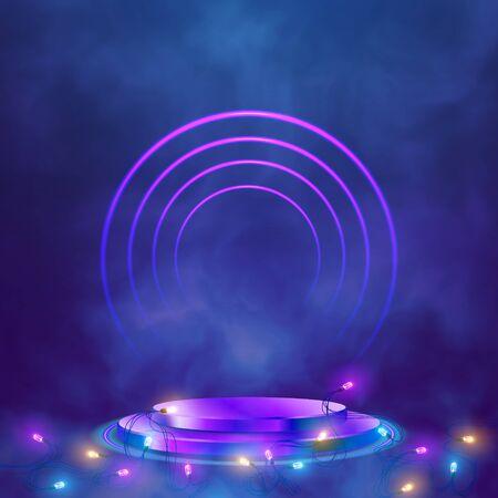 Empty round pedestal or platform illuminated by spotlights. Realistic 3D podium on show background of Luminous Garlands. Vector illustration. Illustration