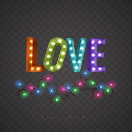 Vintage retro letters with incandescent lamps. The word love on background of Luminous Garlands.