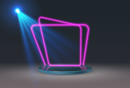 An empty round pedestal or platform with a neon frame illuminated by spotlights. Realistic 3D podium on a show background.