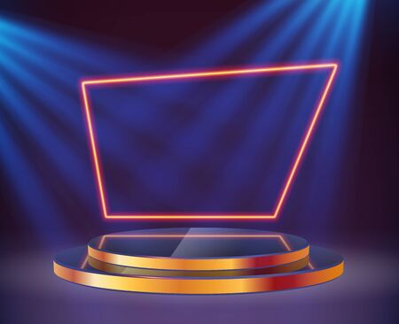 An empty round pedestal or platform with a neon frame illuminated by spotlights. Realistic 3D podium on a show background. Vector illustration Illustration