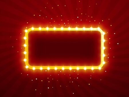 Glowing lights retro for advertising design. Special light effects. Vector Background show. Realistic Vintage frame. 3D Vector Illustratie