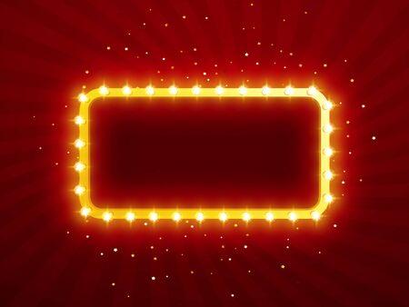 Luces brillantes retro para diseño publicitario. Efectos especiales de luz. Vector de fondo espectáculo. Marco vintage realista. 3D Ilustración de vector