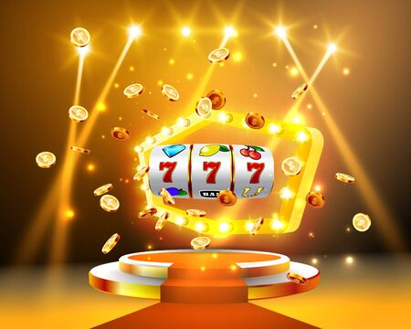 Golden slot machine wins the jackpot 777 on background of an explosion of coins and retro frame. Vector illustration. Red carpet with a round podium and retro frame illuminated by spotlights.