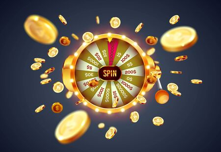 Vector illustration spinning fortune wheel on explosion of gold coins background. Realistic 3d lucky roulette.