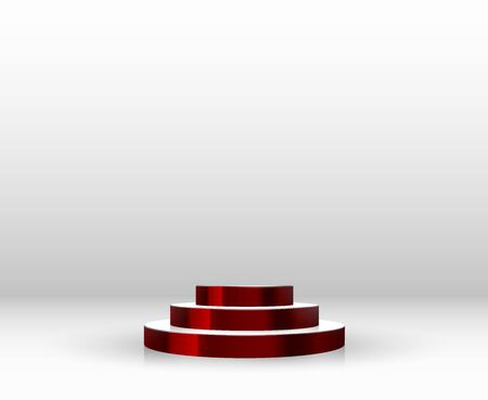 Empty round pedestal or platform for display, for design. Realistic 3D podium on white background. Vector illustration. Illusztráció