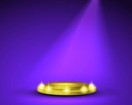 Empty round pedestal or platform illuminated by spotlights. Stage with scenic lights. Realistic 3D podium on show background. Vector illustration.