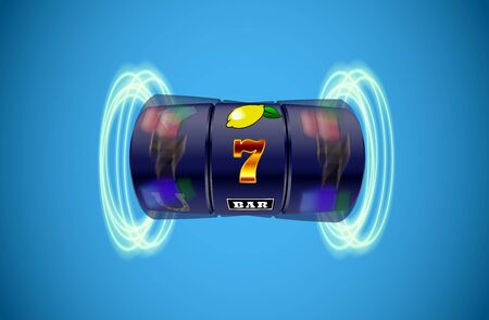 Vector illustration slot machine with lucky three sevens jackpot in realistic style on blue background 向量圖像