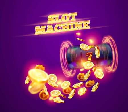 The black slot machine wins the jackpot 777 on the background of an explosion of coins. Vector illustration 向量圖像