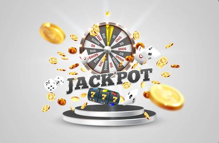 The word Jackpot, surrounded by a luminous frame and attributes of gambling, on the podium, on a explosion coins background. The new, best design of the luck banner, for gambling, casino Vectores