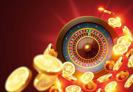 Vector illustration gambling roulette wheel isolated on coins explosion background. Realistic concept design for casino