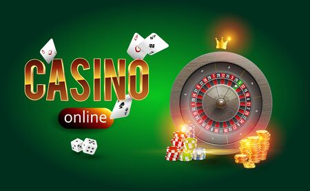 The word gold Casino surrounded by roulette of playing cards, dice, coins and playing chips on a background of smoke. Casino background. Vector illustration realistic concept design for casino