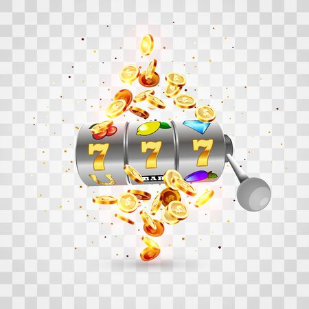 Golden slot machine wins the jackpot 777 on transparent background of an explosion of coins. Vector illustration