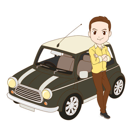 The man and mini cooper car.