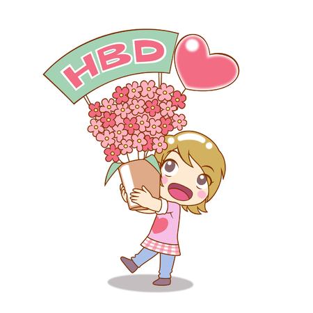 Cartoon Character for happy birthday card.
