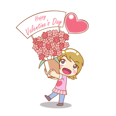 Girl is holding boquet of flowers in Cartoon Character for Valentines day. Illustration
