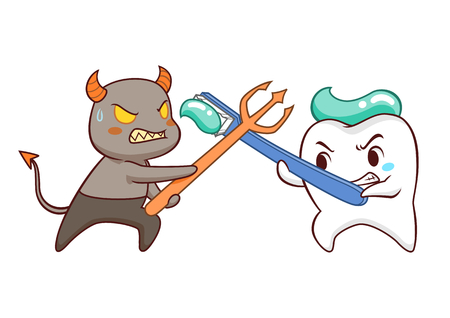 Cartoon Illustration of tooth fighting bacteria.