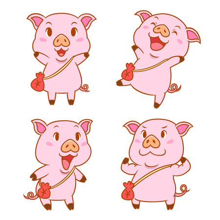 Set of cute cartoon pigs with red money bag in different poses.