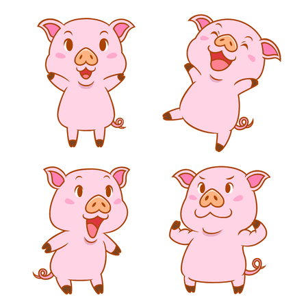 Set of cute cartoon pigs in different poses.