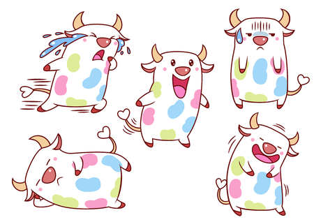 Set of cute cartoon cows with colorful spots in different poses. Archivio Fotografico - 97460094