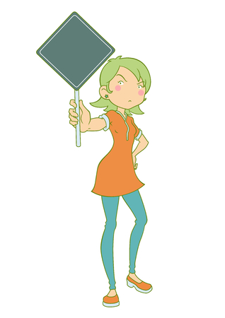 Cartoon illustration of girl holding protest banner. Illustration