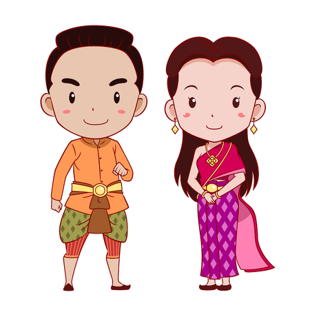 Cute couple of cartoon characters in Thai traditional costume.