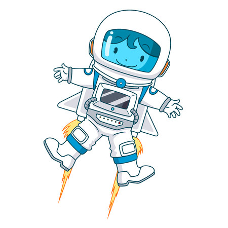 Cartoon character of astronaut floating, Vector illustration. Vectores