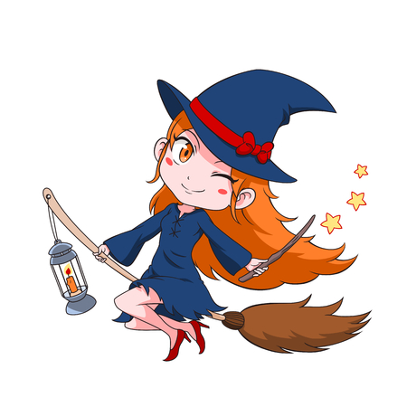 Cute cartoon witch flying on a broom. Illustration