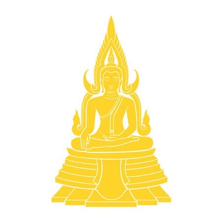 Graphic vector of Buddha for Thai Buddhist holy day. Illustration