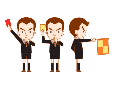 Cartoon Vector of soccer referee holding red card, yellow card and flag.