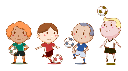 Cartoon illustration of cute soccer players.