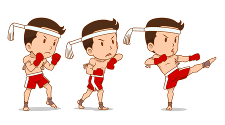 Cartoon Character of cute Muay Thai boxer.