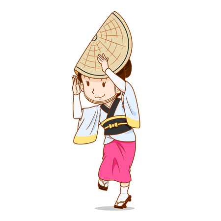 Cartoon character of Awa Odori dancer, Japanese traditional dancer. Иллюстрация