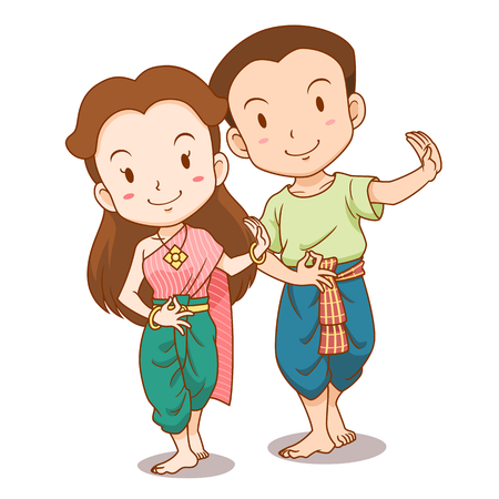 Cute couple cartoon of traditional Thai dancers. Boy and girl are on separated layer.