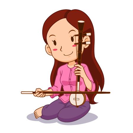 Personaje de dibujos animados de niña jugando Saw-U. Instrumento de cuerda de arco tailandés.