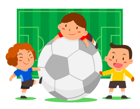 Cartoon illustration of cute soccer players with big ball on football field background.