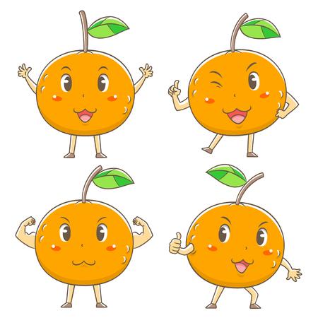 Verzameling van cute cartoon sinaasappelen in verschillende poses.