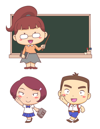 Cartoon characters of Kids and Teacher back to school.