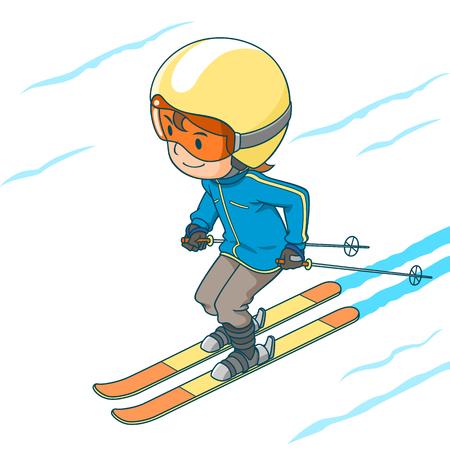 Postać z kreskówki ładny chłopiec gra na nartach.