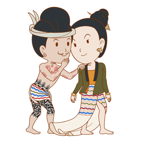 Couple of cartoon character whispering in traditional northern Thai styles.