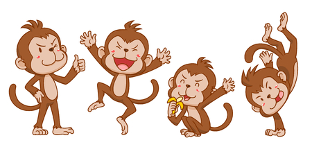 Set of cute cartoon monkeys in different poses. Ilustração