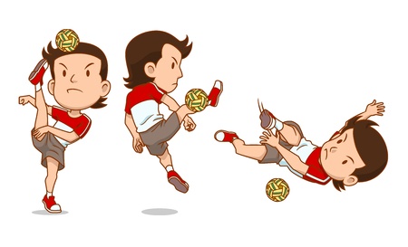 Cartoon Character of Sepak Takraw player. Illustration