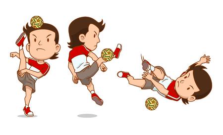 Personnage de dessin animé du joueur Sepak Takraw.