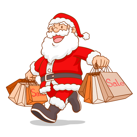 Cartoon vector of Santa Claus holding shopping bag.