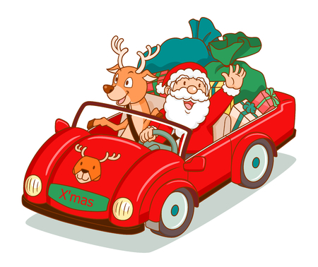 Cartoon vector of Santa Claus driving a car with reindeer sitting beside.