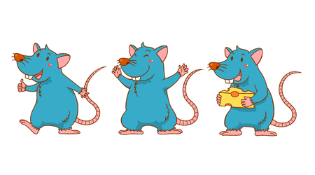 Set of cute cartoon rats in different poses.