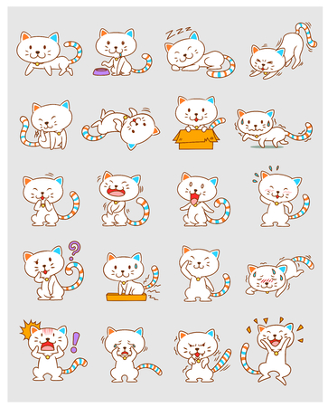 Set of cute cartoon white cats in different poses.